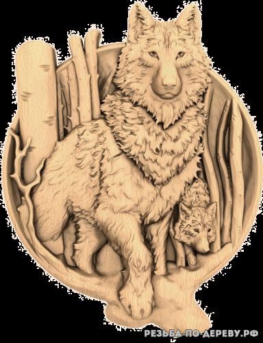 Резное панно Волки (тарелка) из дерева