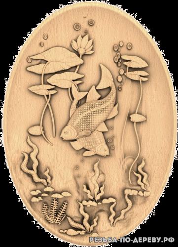 Резное панно Рыбки - тарелка из дерева