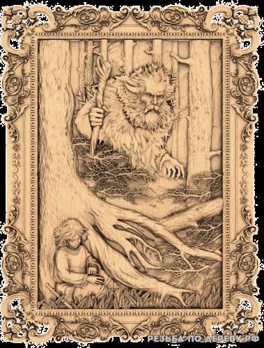 Резное панно Леший из дерева