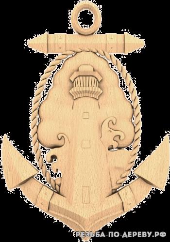 Резное панно Якорь (3) из дерева