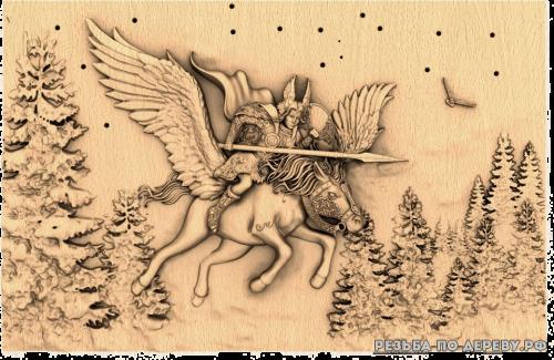 Резное панно Валькирия из дерева