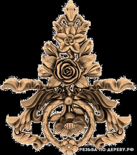 Резное панно Цветы №75