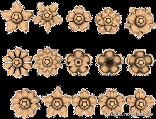 Резное панно Цветы №76