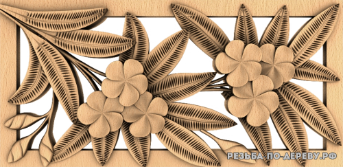Резное панно Цветы №86