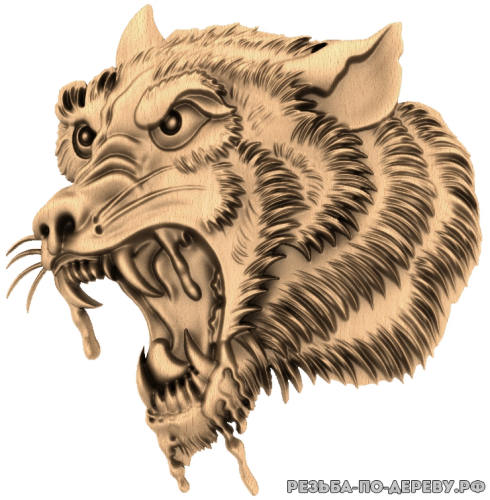 Голова волка (6) из дерева