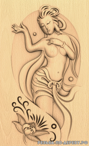 Резное панно Девушка №22 из дерева