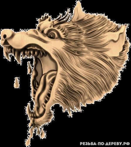 Голова волка (7) из дерева