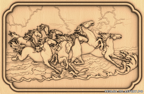 Резное панно Беговые лошади №4 из дерева