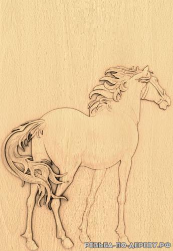Резное панно Лошадь (11) из дерева