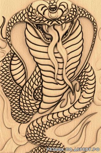 Резное панно Змея композиция из дерева