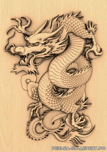 Резное панно Дракон №11 из дерева