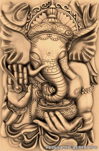 Резное панно Слон №3 из дерева