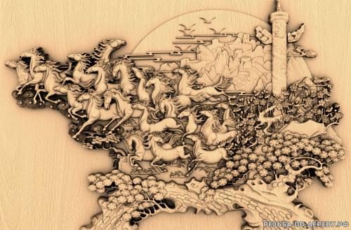 Резное панно Беговые лошади №5 из дерева