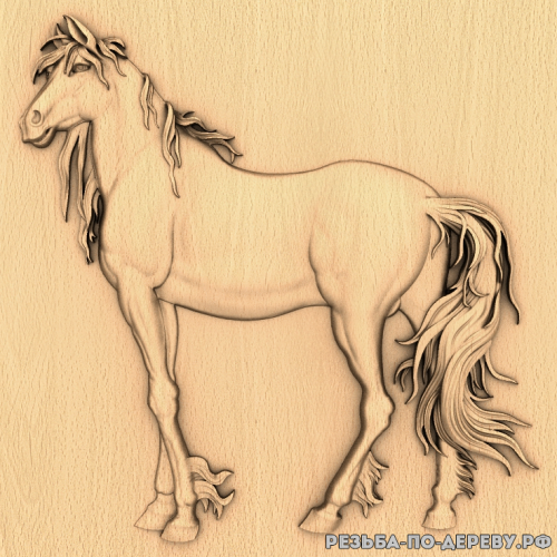 Резное панно Лошадь (13) из дерева