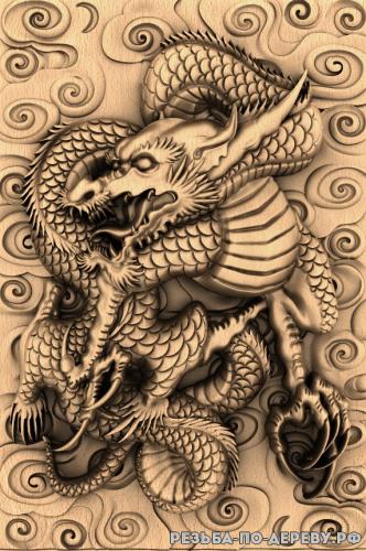 Резное панно Дракон с фоном №7 из дерева