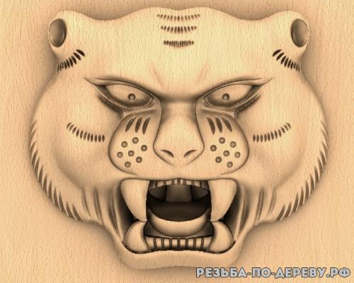 Голова китайского тигра из дерева