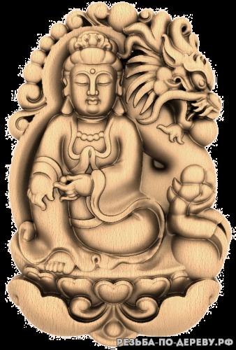 Резное панно Бодхисаттва с драконом из дерева