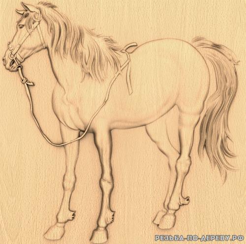 Резное панно Лошадь (14) из дерева