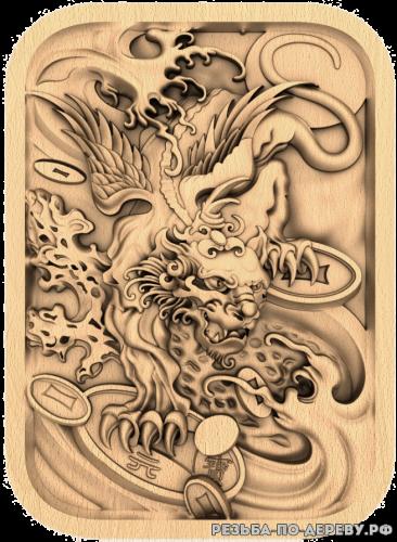 Резное панно Дракон с фоном №9 из дерева