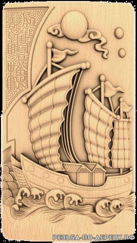 Резное панно Китайский корабль из дерева
