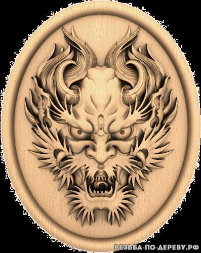 Резное панно Дракон голова из дерева