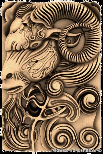 Резное панно Баран №4 из дерева