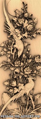 Резное панно Птицы и цветы №1 из дерева