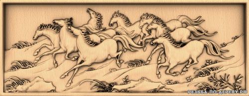 Резное панно Беговые лошади №1 из дерева