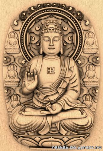 Резное панно Будда с фоном №6 из дерева