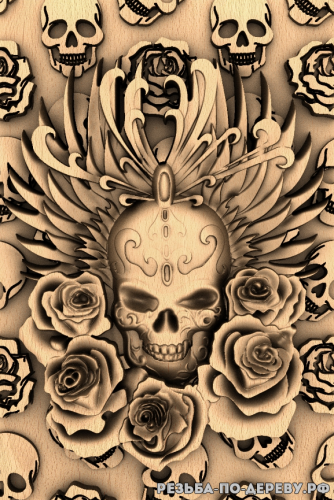 Резное панно Череп и розы из дерева