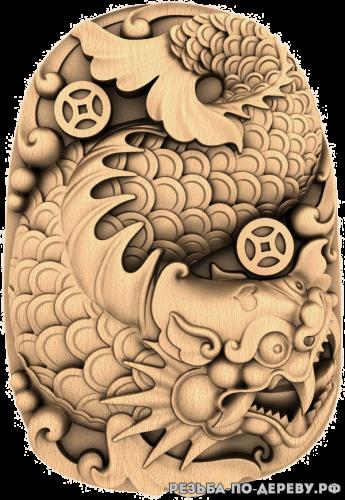 Резное панно Дракон с фоном №2 из дерева