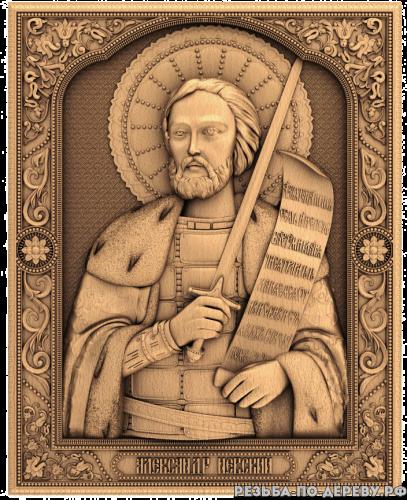 Резная икона Александр Невский из дерева