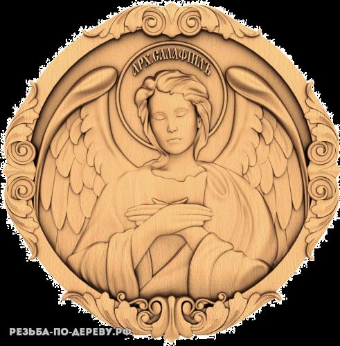 Резная икона Архангел Селафиил из дерева