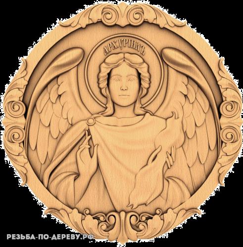 Резная икона Архангел Уриил из дерева