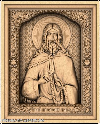 Резная икона Илья Пророк из дерева