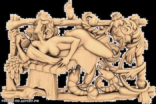 Панно для бани — Развратная женщина из дерева
