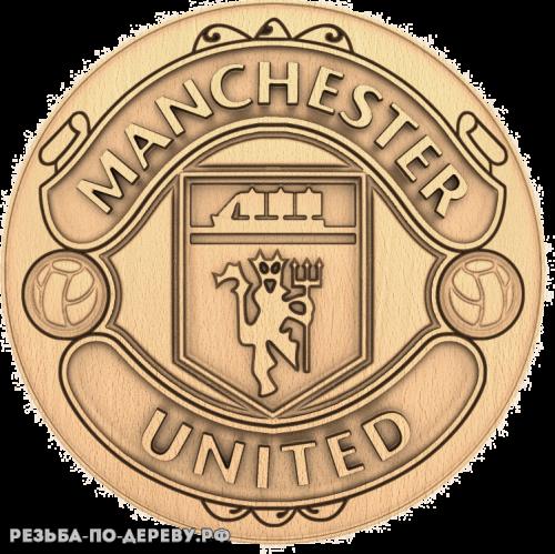 Герб Manchester United из дерева