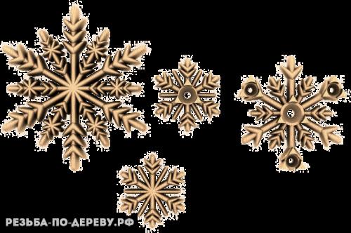 Резной Декор Снежинки из дерева