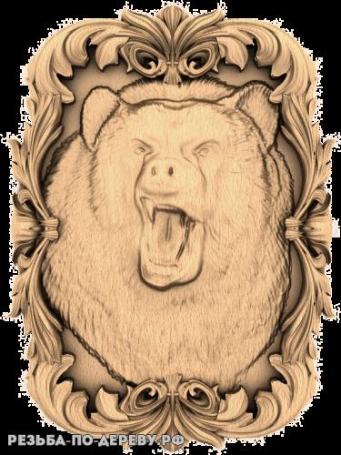 Резное панно Медведь в рамке из дерева