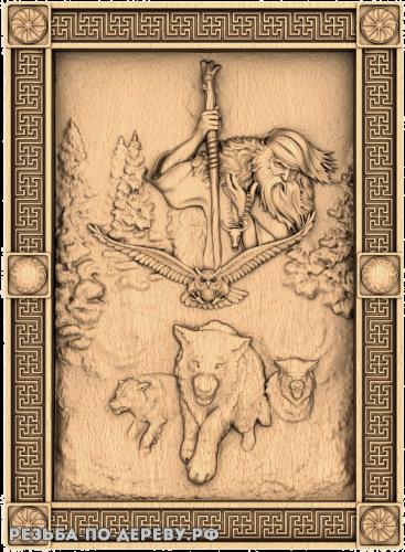Резное панно Чернобог (2) из дерева