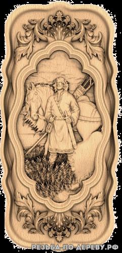Резное панно Илья муромец (3 серия) из дерева