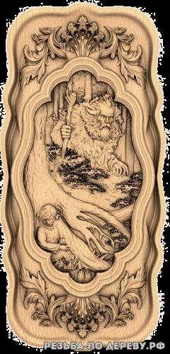 Резное панно Леший (3 серия) из дерева