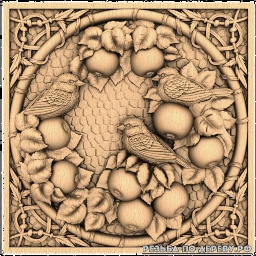 Резное панно Воробьи (в рамке) из дерева