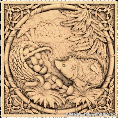 Резное панно Ёжик (в рамке) из дерева