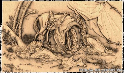 Резное панно Лошадь №25 из дерева
