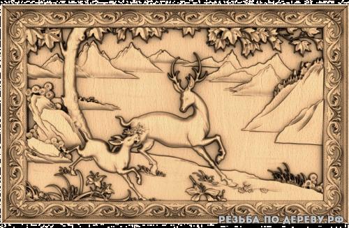 Резное панно Олень и оленёнок из дерева