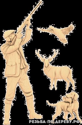 Резное панно Охотник №5 из дерева