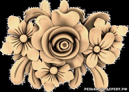 Резное панно Цветы (92)