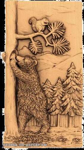 Резное панно Медведь №5 из дерева