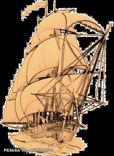 Резное панно Корабль №7 из дерева